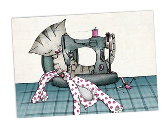 Cat Greetings Card -  Sewing Machine - Catsuit - blank no message -  birthday