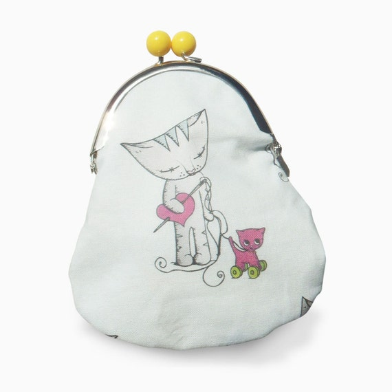 Cat Purse - Cat with kitten pink wheelie retro toy - metal frame purse - yellow bobble clasp