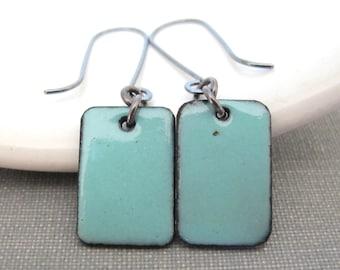 Aqua Earrings, Enameled Earrings, Silver Earrings, Enameled Copper, Rectangle Copper, Geometric Earrings, Robins Egg Blue, Silver Jewelry