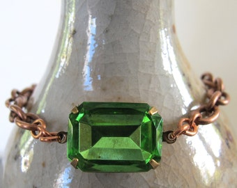 Rhinestone Bracelet, Peridot Green, Copper Bracelet, Copper Chain, Chain Bracelet, Vintage Glass, Vintage Rhinestone, Crystal Clear