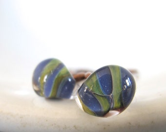 Copper Earrings, Blue and Green, Clear Glass, Stripes, Glass Earrings, Tear Drop Bead, Copper Jewelry, Oxidized Copper, Lampwork Glass