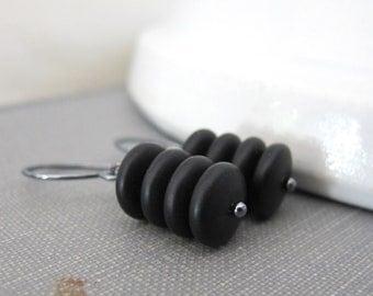 Black Earrings, Jet Black Glass, Silver Earrings, Matte Jet Black, Dangle Earrings, Beaded Jewelry, Glass Jewelry, Silver Jewelry