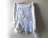 Breeze Skirt, Small to Large, Antique Lace, Cream, White, Floaty, Bohemian, Rustic, Boho