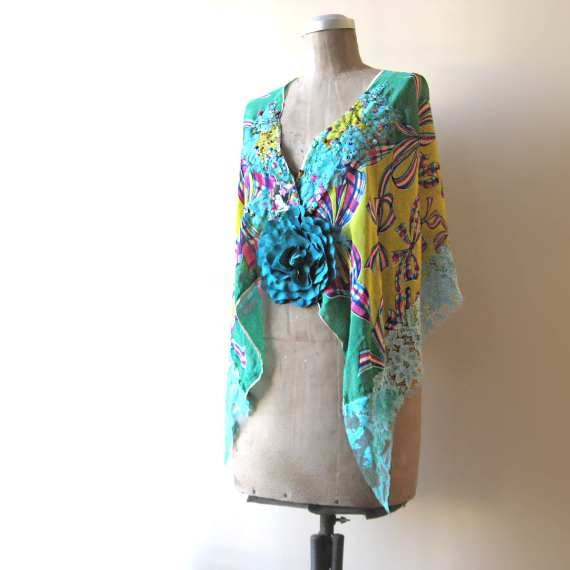 RESERVED for LG - Vintage Silk Geisha Cape, Floaty, Shawl, Turquoise, Green, Pink, Yellow, Lace, Gypsy Bohemian