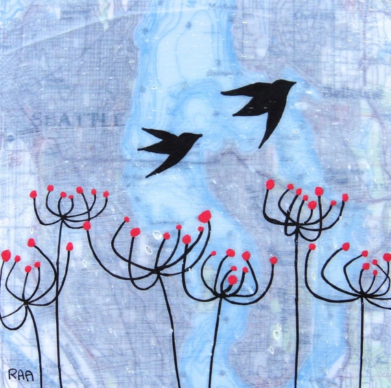 Seattle  - Original Map Painting 5 x 5 - Bird Art