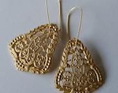Gold Family Crest Filigree Earrings