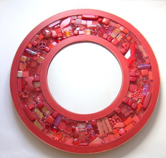 Mixed Media Mosaic Mirror BEGONIA STARDUST Bright Red Crimson Orange Collage Assemblage Wall Art