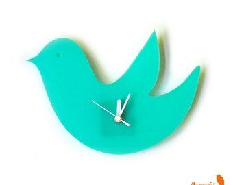 Mint Green Birdie Wall Hanging Clock