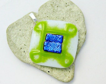 Fused Glass Jewelry - Green Never Ending Knot - White Green with Blue Dichroic Pendant