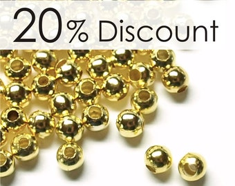 CLOSEOUT - BDBGP-rd30 - Bead, Round, 3mm, Gold - 500 Pieces (5pk)