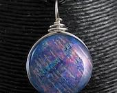 Blue Topaz Opal Dichroic Glass Necklace
