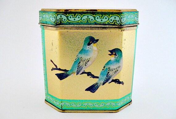 Bluebird English Hinged Tin Box - Shabby Cottage Farmhouse Chic Decor