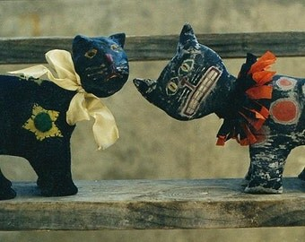Primitive Halloween Pattern PDF  EPattern Black Cat Figurine Paperclay Clay Felt Crepe Paper Folk Art Folkart  Hickety Pickety AS22