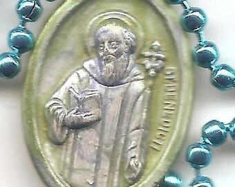 Devil Be Gone, St. Benedict Patron Saint on Blue Ball Chain