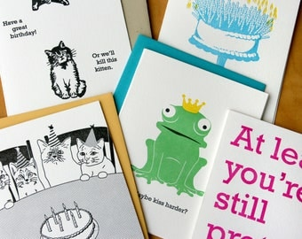 Buy FOUR get ONE FREE - letterpress cards