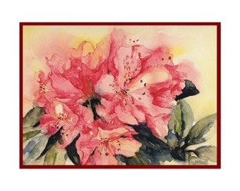 Watercolor Rhododendron Note Cards Notecards, Rhododendron Prints, Rhodendron Art, Gift Box