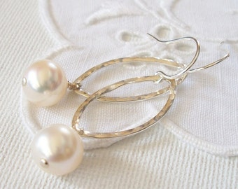 Sterling Silver Marquis and Freshwater Pearl Earrings