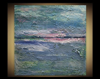 CUSTOM  Original Abstract Painting Impressionism Earth Sea and Sky Earthen Series 24X24X1.5  Stretched Gallery Canvas