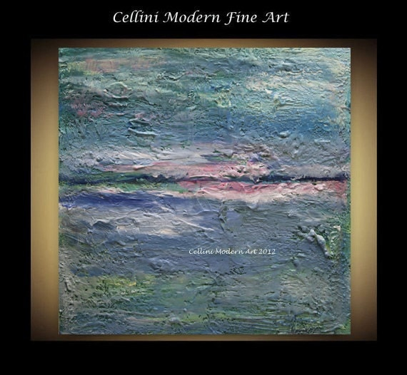 "Etsy Original Abstract Painting Impressionism Earth Sea and Sky Earthen Series 10"" X 10"" Stretched Gallery Canvas"