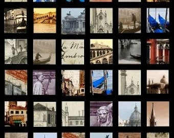 Venice  - 1x1 and .75x.83 Inch - Digital Collage Sheet - Instant Download