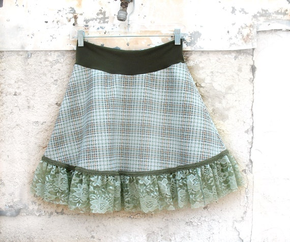 Reserved for Cat Hall Summer Meadows Skirt - Large - from vintage fabric - 1970s menswear upcycled clothing  sage plaid mini skirt lace