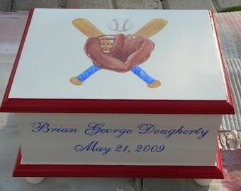 Baby Keepsake Box Baby Keepsake chest for boy Baseball baby gift personalized hand painted baby gift