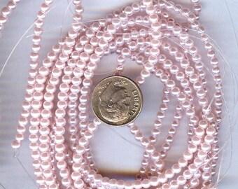 3mm Elegant Pink Glass Pearls 50 pcs