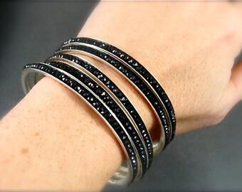 skinny gemstone bangle, black spinel