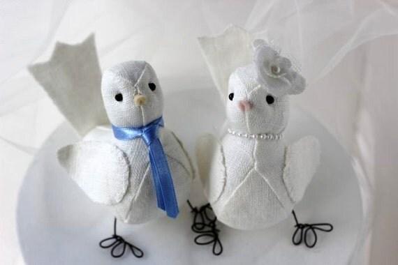 Wedding Cake topper Love birds White linen  Spring Summer Made to Order