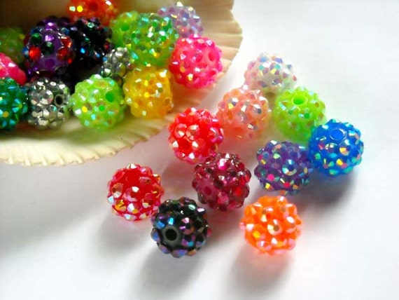 20 Assorted Disco Ball Spacer Beads
