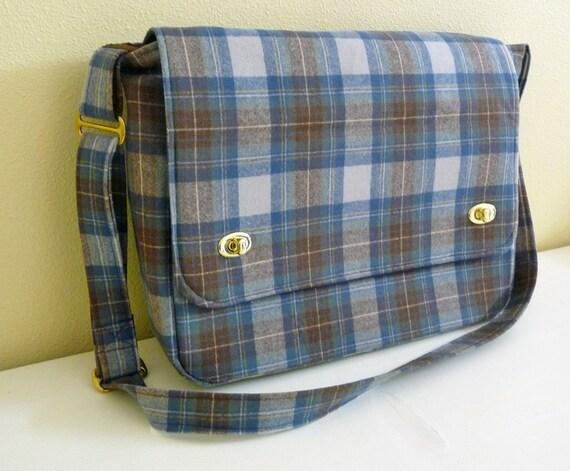 Tartan Plaid Wool Laptop Messenger Bag, Stewart Dress Blue