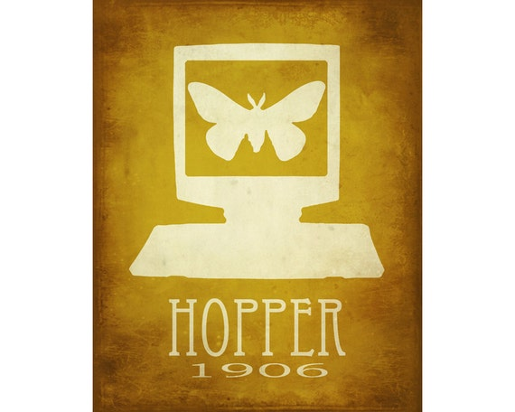 Hopper 11x14 Science Art Print - Grace Hopper Computer Design, Steampunk Rock Star Scientist Poster, Computer Programmer Geek Chic Art