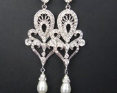 Art Deco Style Bridal Chandelier Earrings, Statement Wedding Earrings, Long Vintage Style Bridal Earrings, Pearl Drops, MARISSA