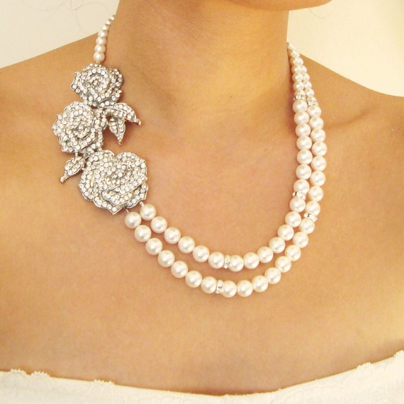 Triple rose bridal necklace statement wedding jewelry for Decor jewelry