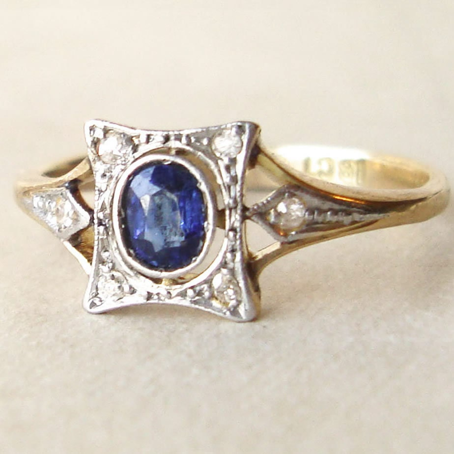 antique engagement ring edwardian sapphire ring 18k gold