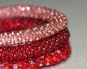 Triplets - Red ... Bangle Set . Bracelet . Bead Crochet . Crimson . Scarlet . Sparkly . Chic . Bold . Modern . Stackable . Holiday Color