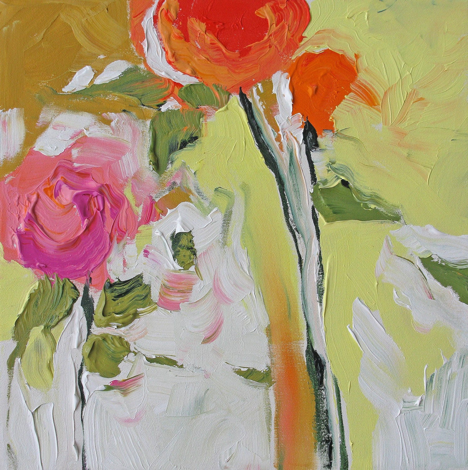 Print of my abstract floral acrylic painting for Flower paintings on canvas