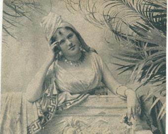 1897 vintage advertising pretty lady orientalist green harem exotic