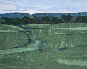 Evening Green, Original Landscape Collage Painting on Paper, Canada