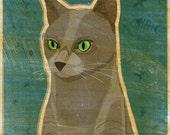 "Russian Blue Cat Print- 8"" x 10"" Print- Cat Art Print- Cat Wall Decor- Cat Wall Art- Russian Blue Art- Cat Print- Russian Blue Cat Gifts"