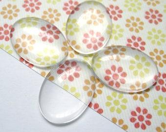 18mm x 25mm Transparent Glass Cabochons, Oval, 10pcs