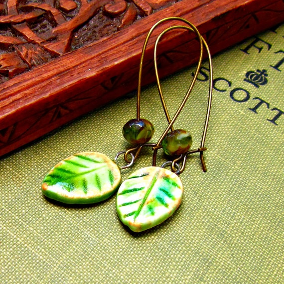 Ceramic Leaf Dangle Earrings Handmade Jeraluna Designs