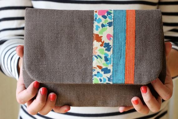 NEW Bloomsbury Stripe Clutch, Gray Linen, Applique