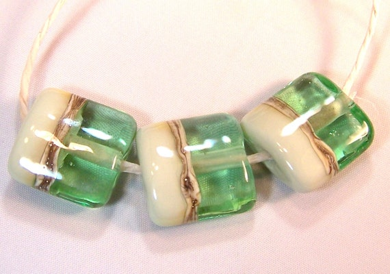 RESERVED for KAREN Mint Mojito - Handmade Lampwork Glass Beads - Square Pillow Shaped Lampwork Bead Set of 3