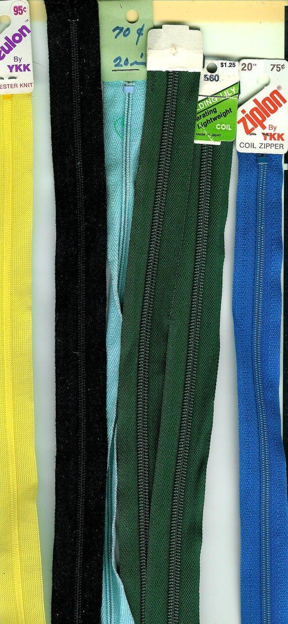 20 inch ZIPPERS Lot of 6 Variety of COLORS