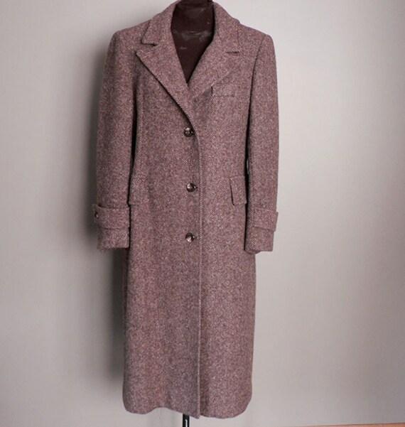 Womens Vintage Oxblood Wool Tweed Chesterfield Full Length Coat Size 10 - Womens Vintage Oxblood Wool Tweed Chesterfield Full Length