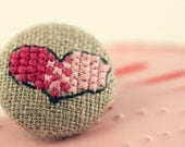 SALE - Love - Fabric Covered Brooch Pin