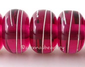 Lampwork Glass Beads PINK LADY Fine SILVER Wire Wraps - Handmade - taneres