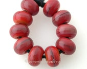 Lampwork MINI Spacer Glass Beads BLOODY MARY Handmade - taneres red streaky