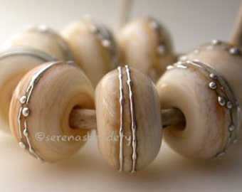 DARK IVORY with fine SILVER Wraps - Handmade Lampwork Glass Bead Set - taneres